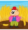 Hamster near wheat field vector image