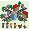 Isometric pixel city vector image