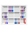 Rows of folders on the shelves vector image