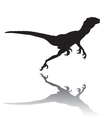 Silhouette of a running dinosaur vector image
