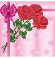 Greeting or invitation card with roses and bow vector image vector image