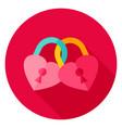 hearts padlock circle icon vector image