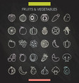fruits and vegetables chalk icons vector image