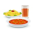Set meal menu with soup pasta vector image
