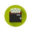 Flat Design Cash Symbol Purse with American Money vector image vector image