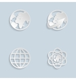 Paper Globe earth icons set vector image vector image