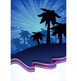 summer night with palm trees vector image