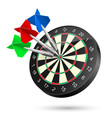 dartboard with darts hitting a target on white vector image