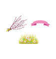 easter holiday spring objects set icon vector image