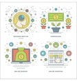 Flat line Meeting Fundraising Banking Shopping vector image