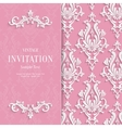 Pink Floral 3d Wedding Invitation vector image