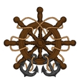 Ships helm with carved handles rope and anchors vector image