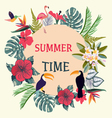 Summer Time Tropical Background With Tropical Plan vector image