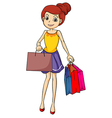 A smiling girl with bags vector image