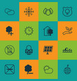 set of 16 eco-friendly icons includes world vector image