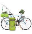fishing bicycle vector image
