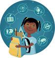 Cartoon school girl vector image vector image