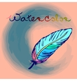 colorful hand drawn bird feather in a form of vector image