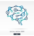 Brain concept with earth network social media vector image vector image