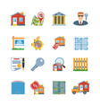 Real Estate Flat Design Icons vector image