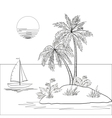 Island with palm and ship vector image vector image