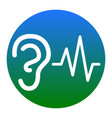 ear hearing sound sign white icon in vector image
