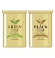 tin can with label of black and green tea vector image