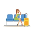 Woman Waiting For Her Flight In Lobby Part Of vector image