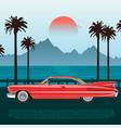 red retro car on road near blue sea or ocean vector image