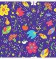 Floral seamless pattern with bird cute vector image vector image