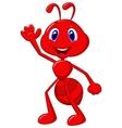 Cute ant cartoon waving vector image vector image