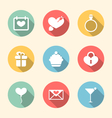 Trendy flat icons for Valentines Day style with vector image vector image
