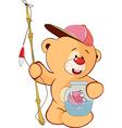 cute stuffed toy bear cub cartoon vector image vector image