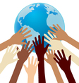 Group of Diversity Hand Reaching For the Earth vector image