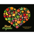 fruit and vegetable heart flat vector image