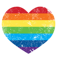 Gay rights rainbow retro heart flag vector image
