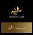 gold leaf tea cup logo vector image