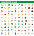 100 dishes icons set cartoon style vector image