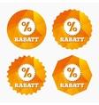 Rabatt - Discounts in German sign icon Star vector image