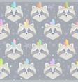 seamless raccoon gray vector image vector image
