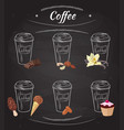 hand drawn coffee collection vector image