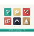 Wedding flat icon set vector image vector image