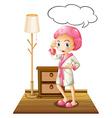 Girl in bathrobe vector image vector image