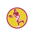 Rugby Player Passing Ball Circle Retro vector image vector image