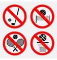 set of signs prohibiting games vector image