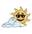 drawing cute smiling cartoon sun and cloud vector image