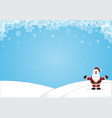 santa claus standing snow hill christmas vector image