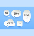 set of paper bubble cloud talk with shadow vector image