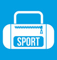 Sports bag icon white vector image