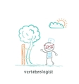 vertebrologist standing near tree with a crooked vector image